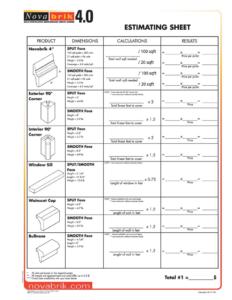 Novabrik Estimate Sheet